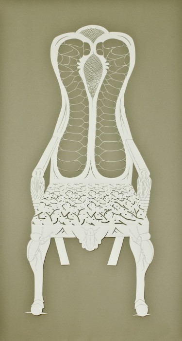 Furniture Beetle Arm Chair, Cut Paper by Gail Cunningham