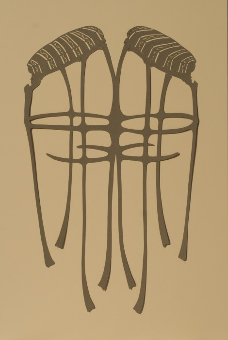 Conjoined Stools, Cut Paper by Gail Cunningham