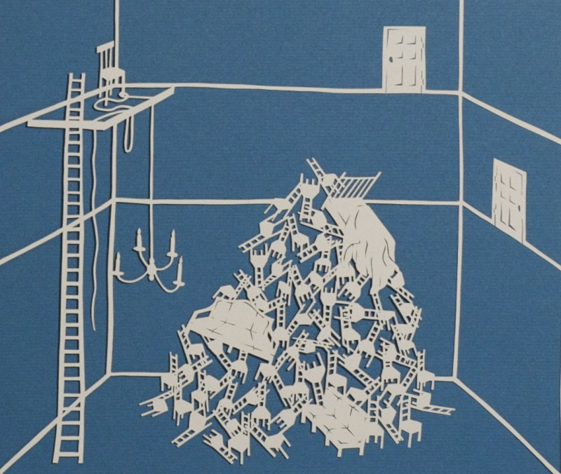 Detention Center III [Detail], Cut Paper by Gail Cunningham