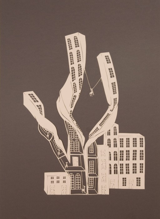 Twisted Buildings II, Cut Paper by Gail Cunningham